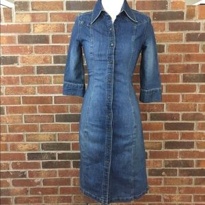Hennes by H&M Fitted Button-Down Denim Dress